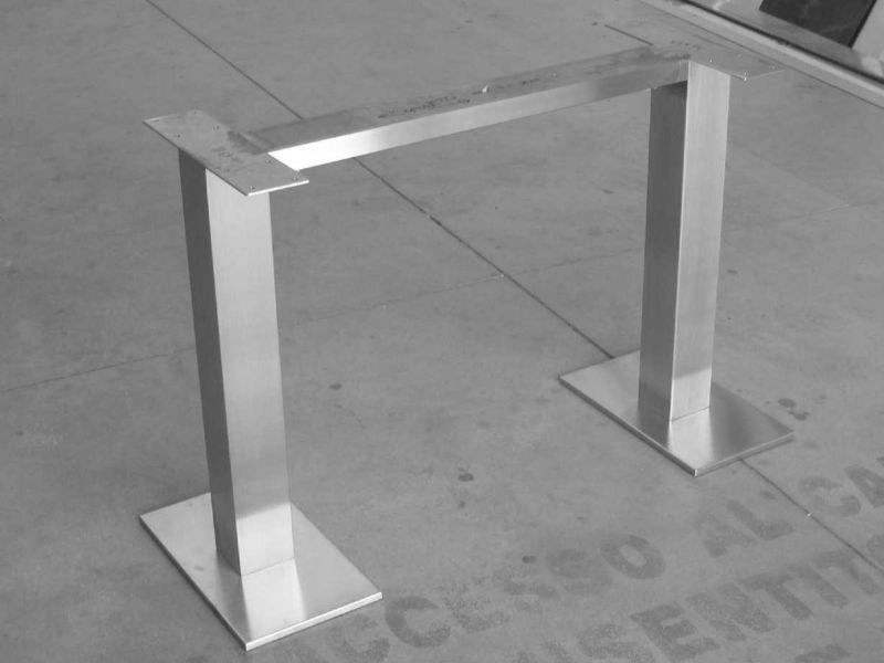 Acciaio inox satinato base per tavolo con piastre photo flavio