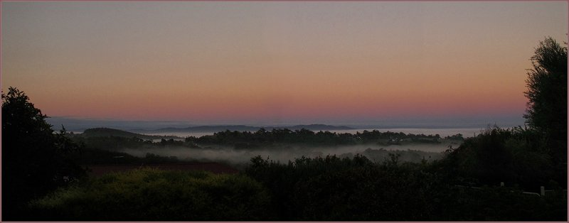 Morning mist in our valley looking west