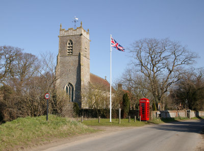 Plumstead Church showing new Flag Pole and Renovated Phone Box