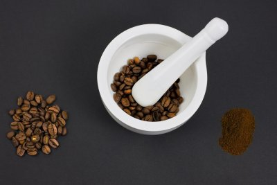Coffee Beans with Mortar & Pestle
