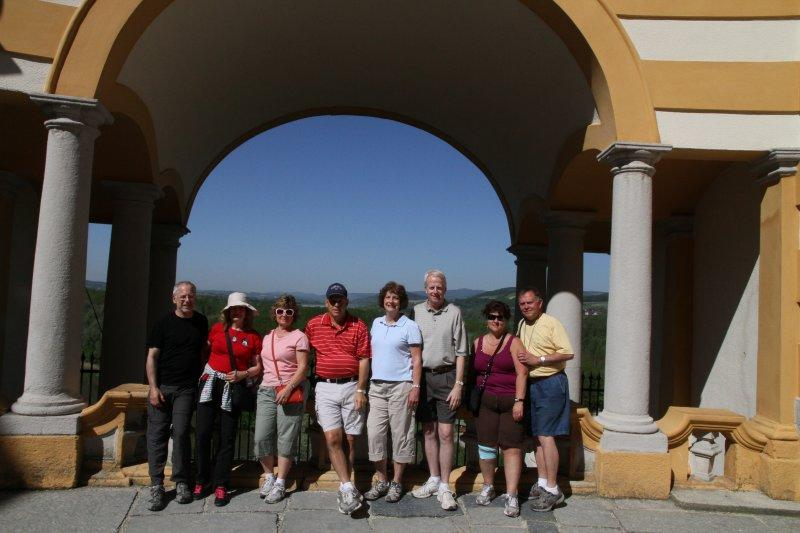 Group shot from the Melk balcony-Sid, Sharon, Laurie, Howard, Jane, Mike, Jan and Gary