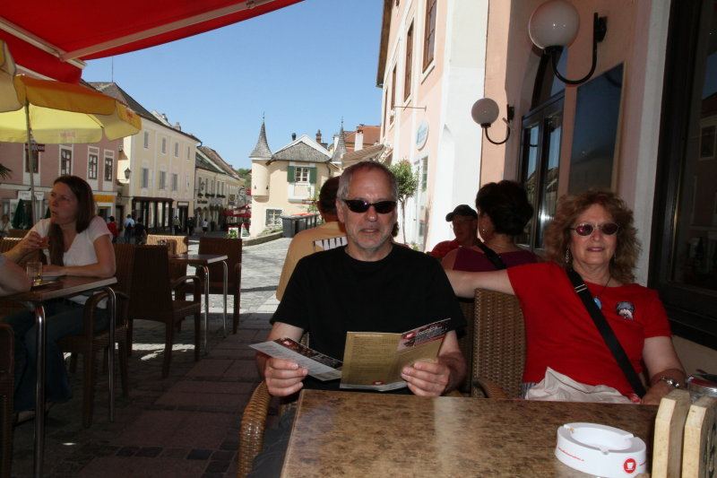 Sid and Sharon in ready for lunch in Melk