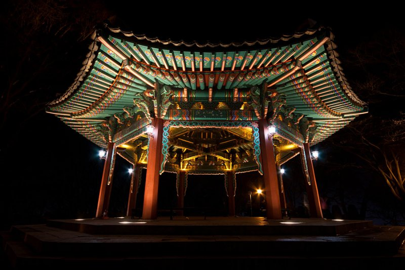 Octagonal pavilion next to N Seoul Tower