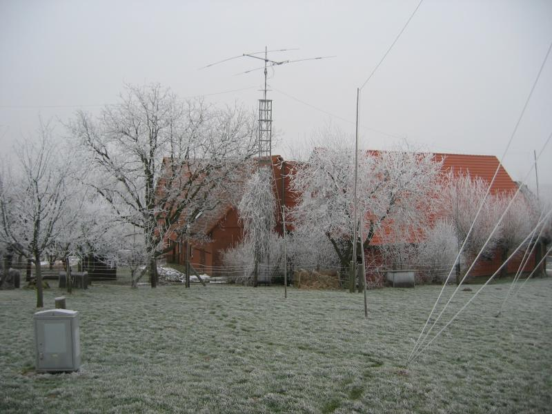 the beam between freezed trees