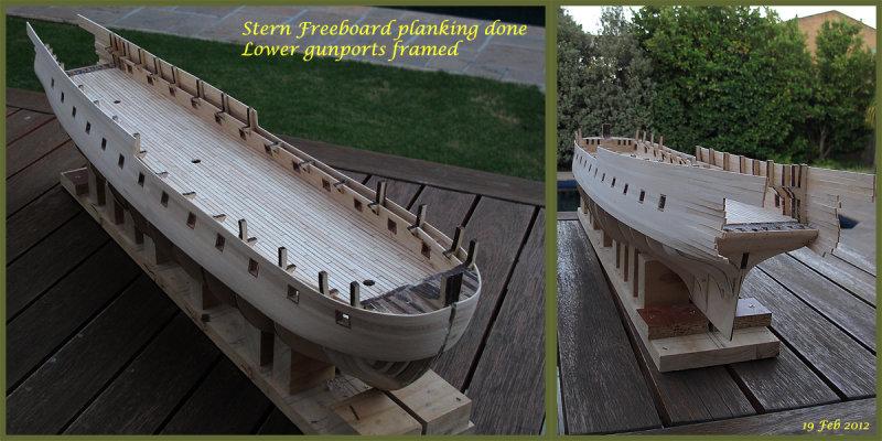 Gunports framed - Stern freedoard planking done