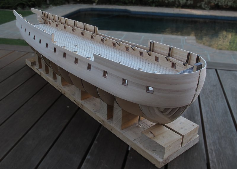 Yet another view of the model after completing the Freeboard Planking