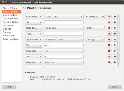 Image rename preferences