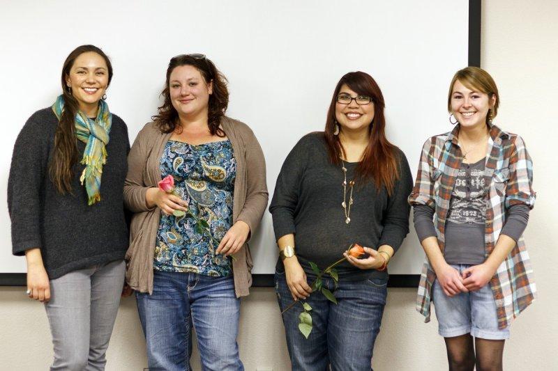 Graduates Deneve Sam, Stephanie Hawkins, Ana Cardenas, and Madeleine Brown