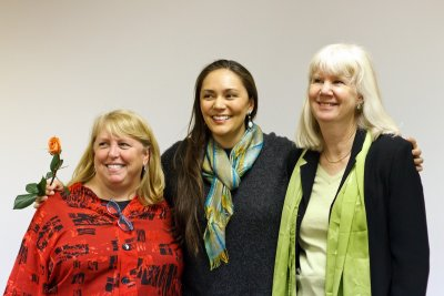 Drs. Miriam Chaiken and Beth OLeary with Deneve Sam