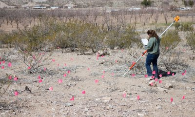 Briana Bianco in a sea of markers indicating the location of artifacts