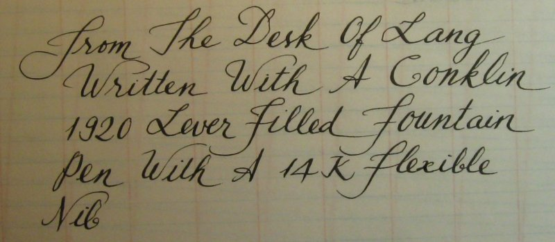 Conklin pen writing sample