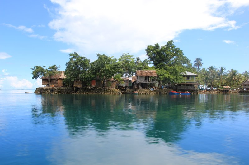 One of the many man made islands in the lagoon