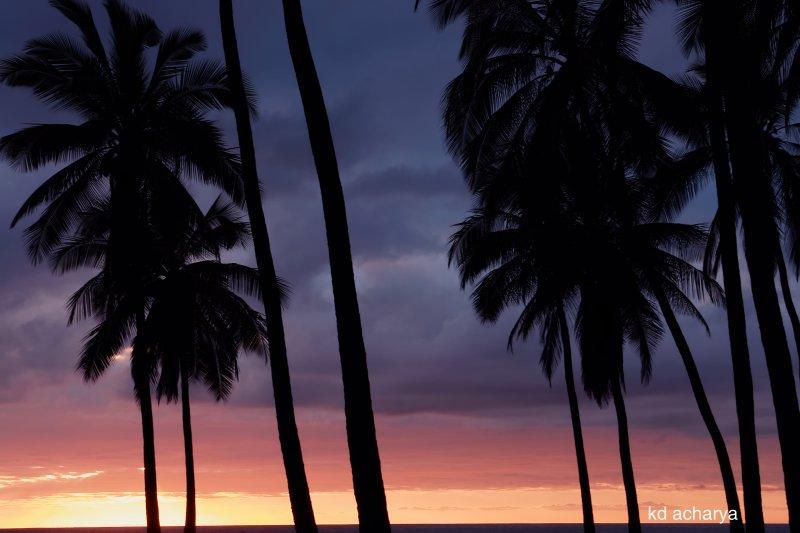 Sunset  with brigher colors on  The Puuhonua o Honaunau National Historic Park, Big Island