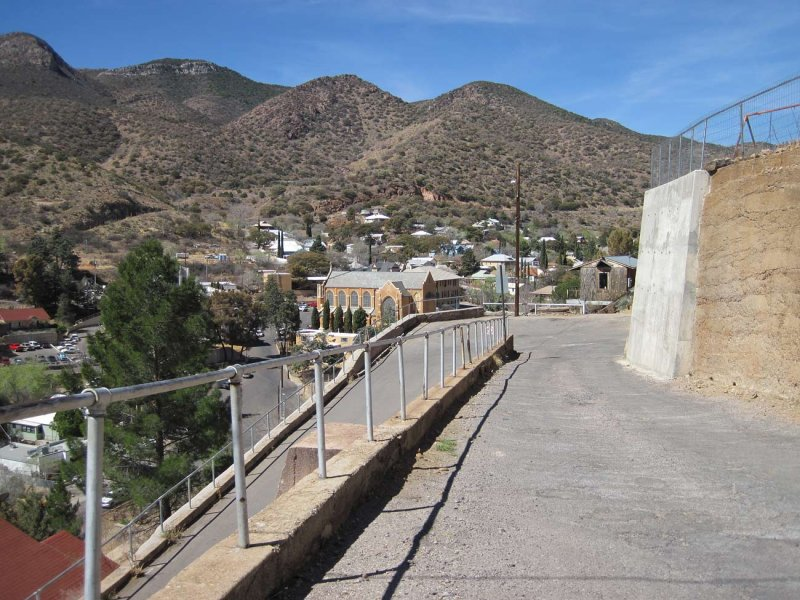 looking down to the Hairpin Turn on High Road in Old Bisbee
