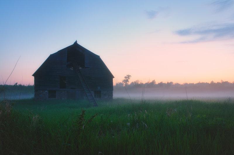 Barn, foggy evening