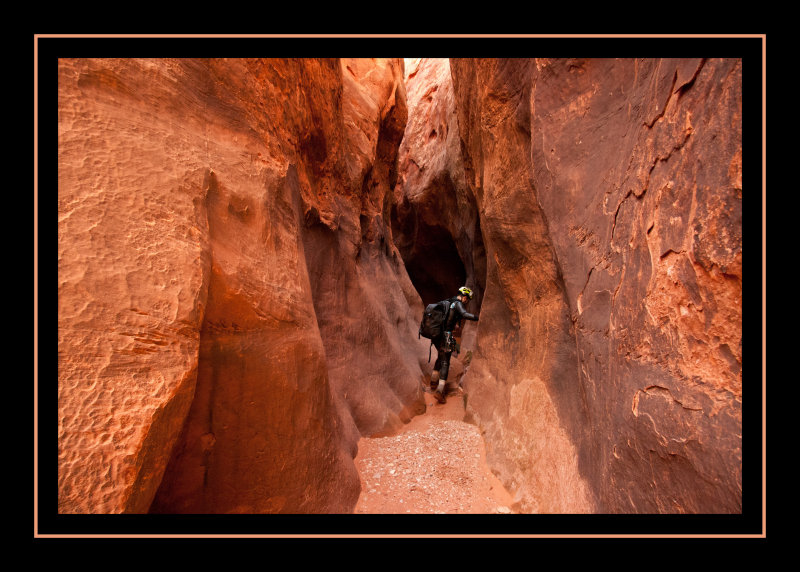 Working through the Narrows in Neon Canyon