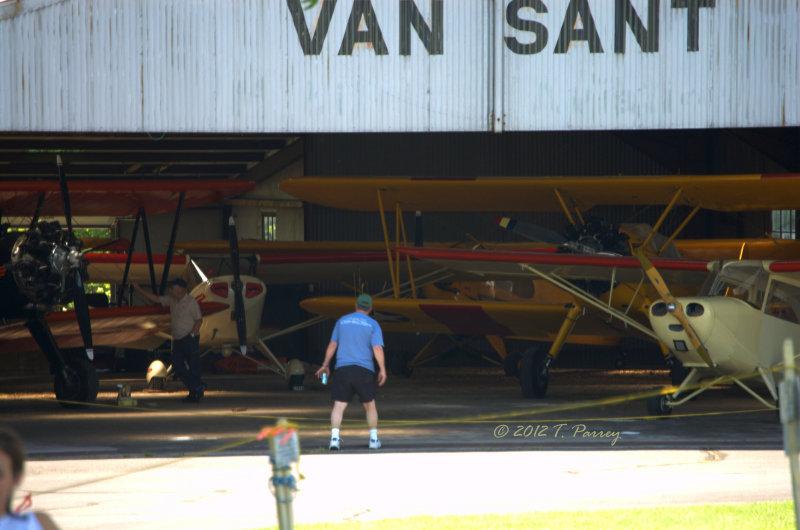 in the hangar