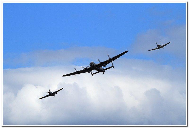 Avro Lancaster with Hurricane & Spitfire escort
