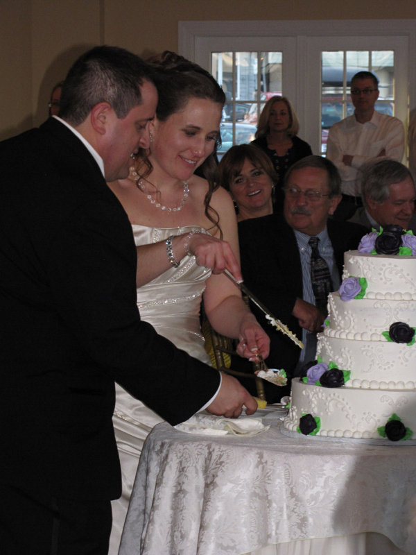 Chris and Audrey Cutting the Cake