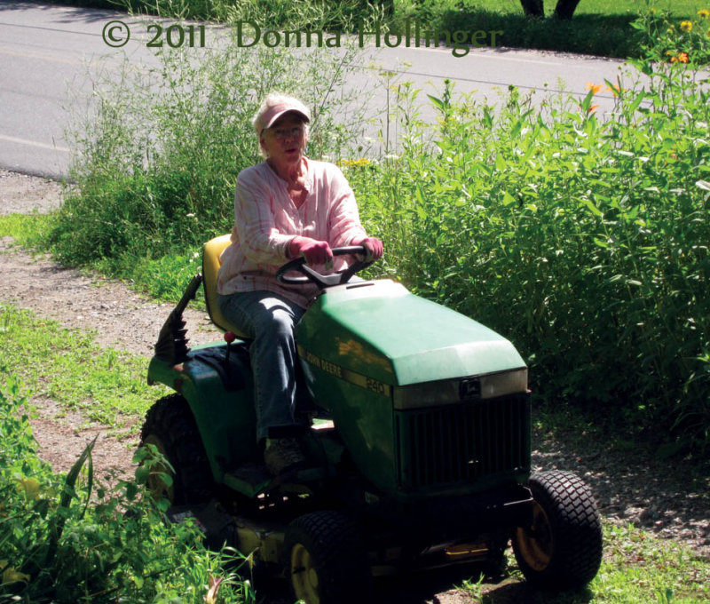 Lee on her Tractor