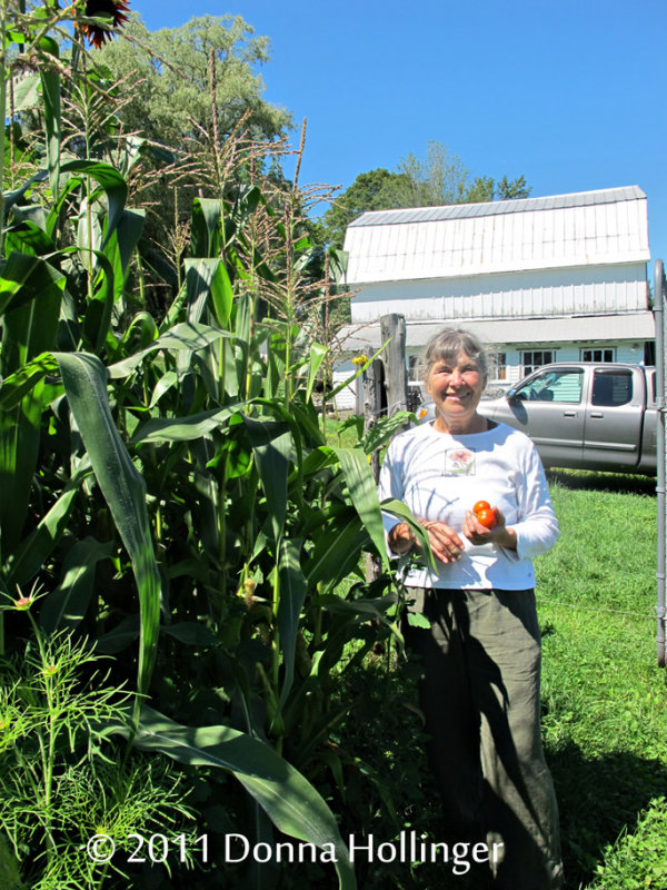 Anni with her corn