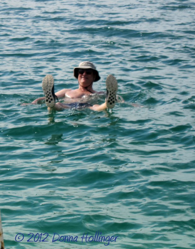 Peter Floating in the Dead Sea