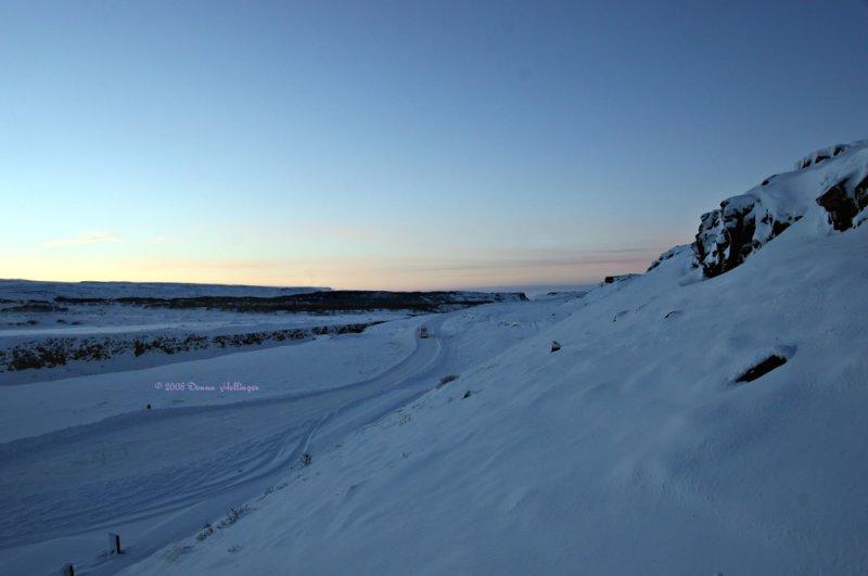 Gullfoss,  Snowy Expanse