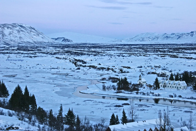 Pingvellir View in a pink/blue twilight
