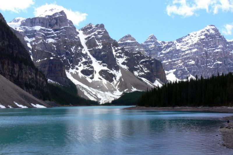 The turqoise waters of Moraine Lake, Banff Nat. Park, Alberta