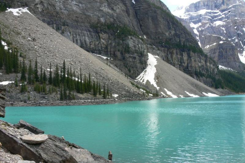 The turqoise waters of Moraine Lake, Banff Nat. Park, Alberta