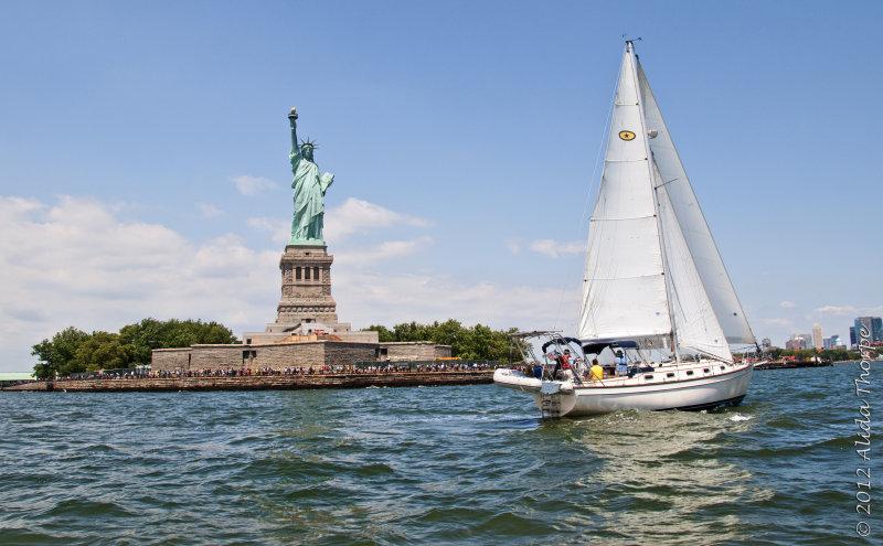 Liberty and sailboat
