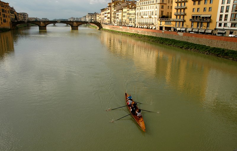 sculling on the arno river