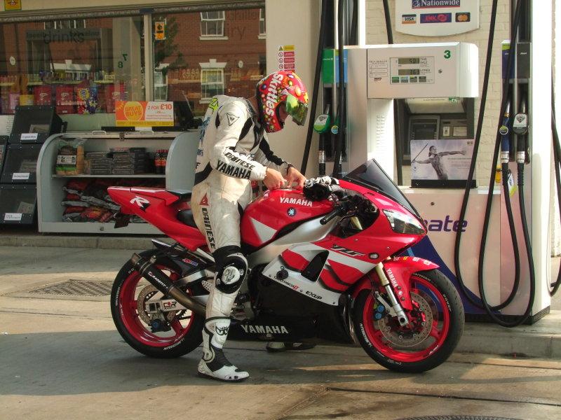 An  R1 Yamaha  refuelling