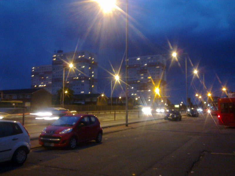 Streetlights  illuminate  the  A13 trunk  road.