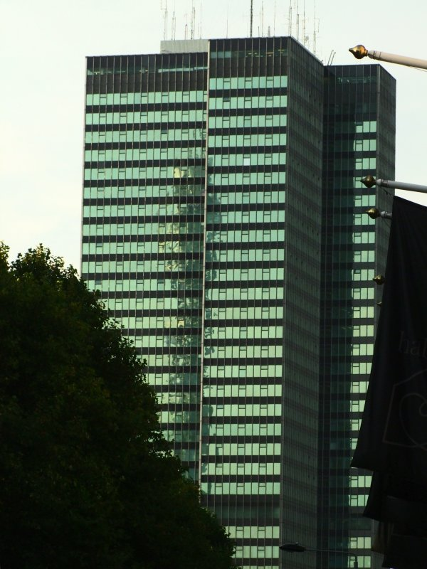 Euston  Tower  with Telecom Tower  reflection/shadow.
