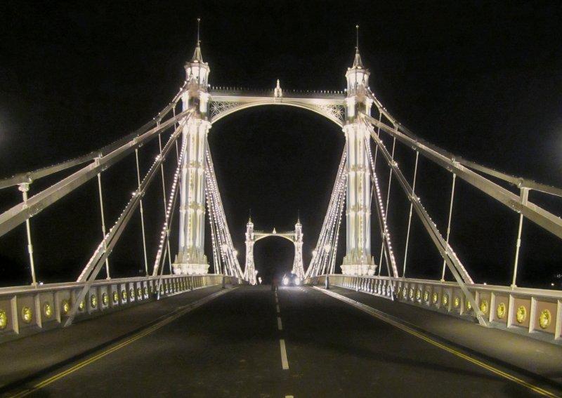 The  Albert  Bridge, with  nightlights.