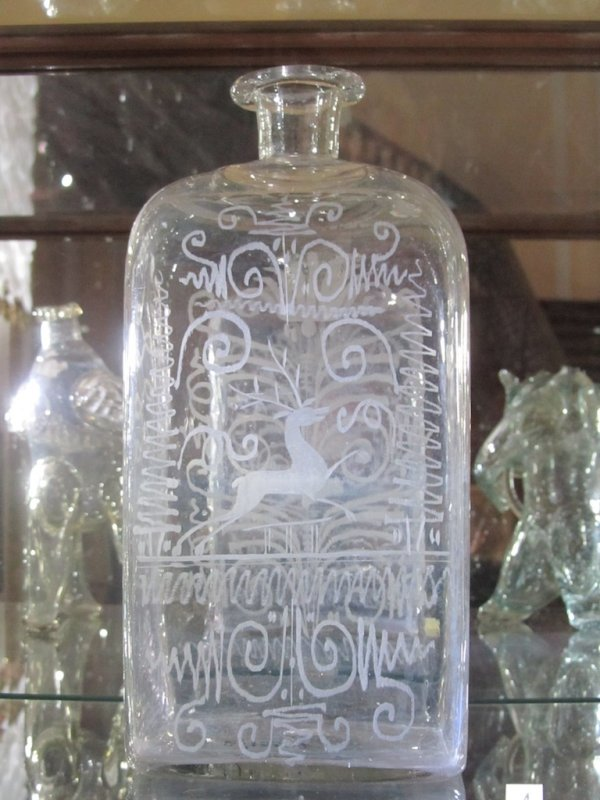 an early 19th c. etched glass bottle from Ukraine