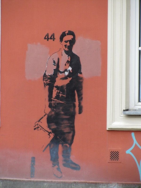 a graffito memorial to the Warsaw Uprising