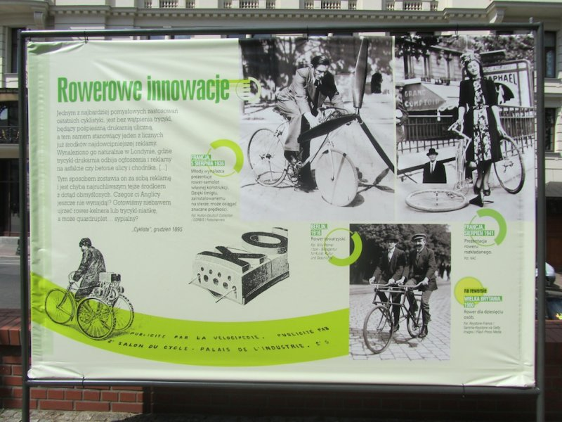back in town, an outdoor exhibit on the bicycle in Poland and around the world
