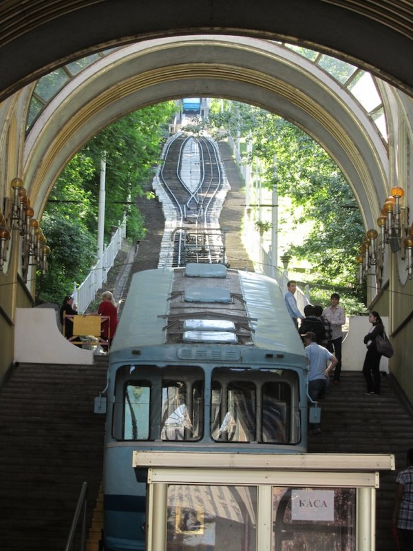 taking the funicular back up to the upper city