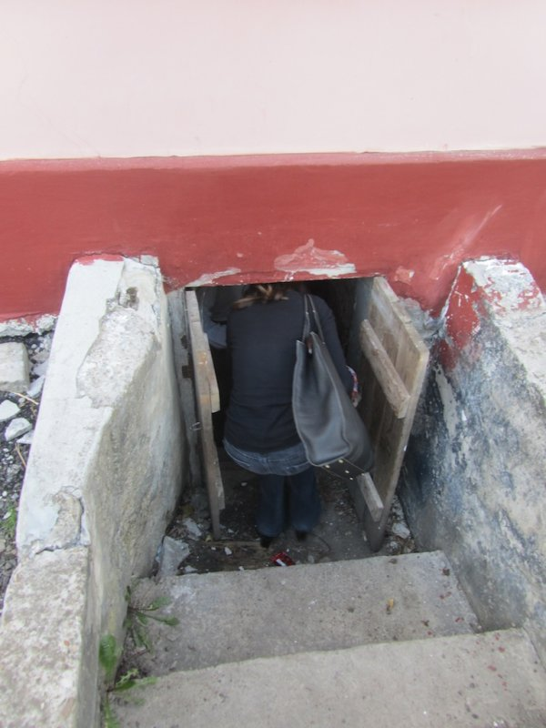heading into the cellar of the former Judenrat building