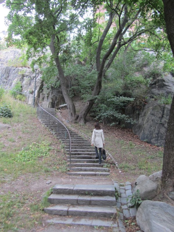 the climb up will give us a view over town from the cliff