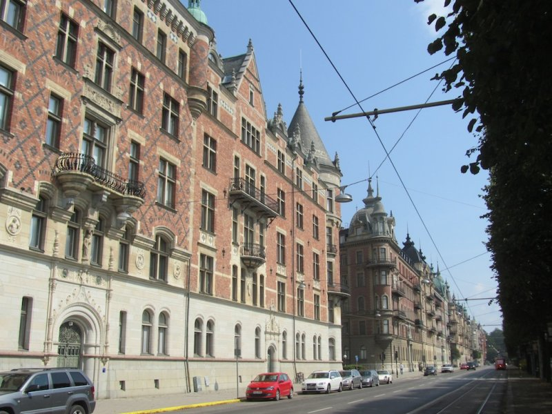 now were on Strandvägen, a row of 19th-c. houses facing Skeppsholmen