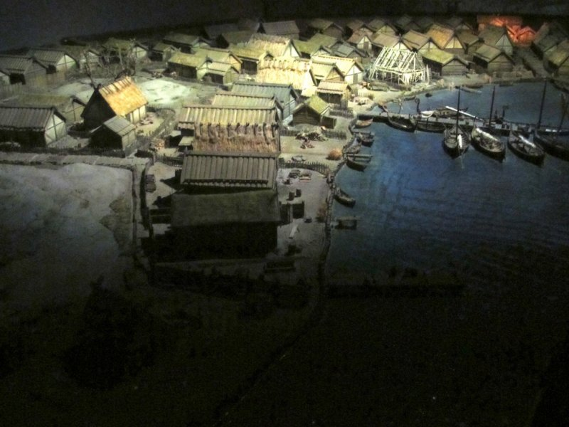 a model of Birka, a Viking-era trading center and proto-town