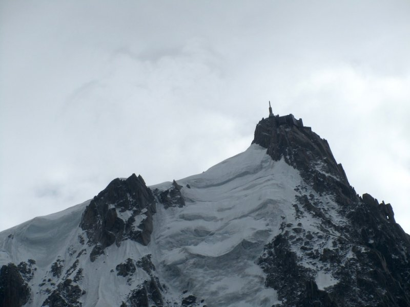 Jay is heading up the telecabin for the Aiguille du Midi station