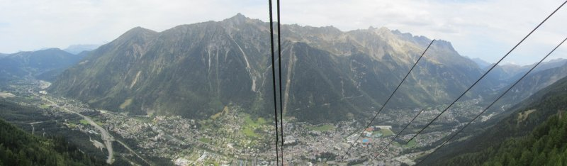 pano: Chamonix from the Mont Blanc telecabin