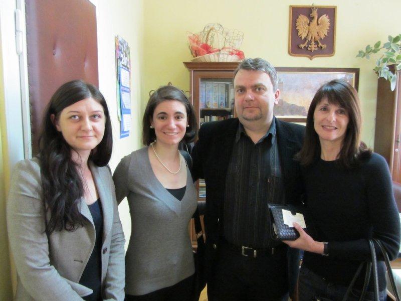 With English teacher Dominika Michalska, Gina Kuhn of the Krakow Galicia Jewish Museum, and School Director Tomasz Galant
