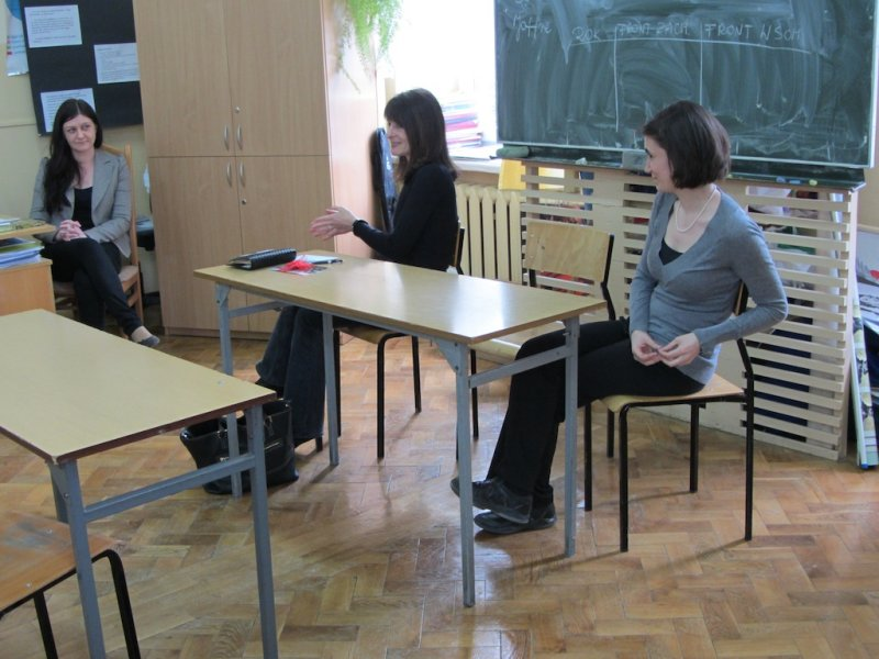 With English teacher Dominika Michalska, speaking with her students, assisted by Gina Kuhn of the Krakow Galicia Jewish Museum