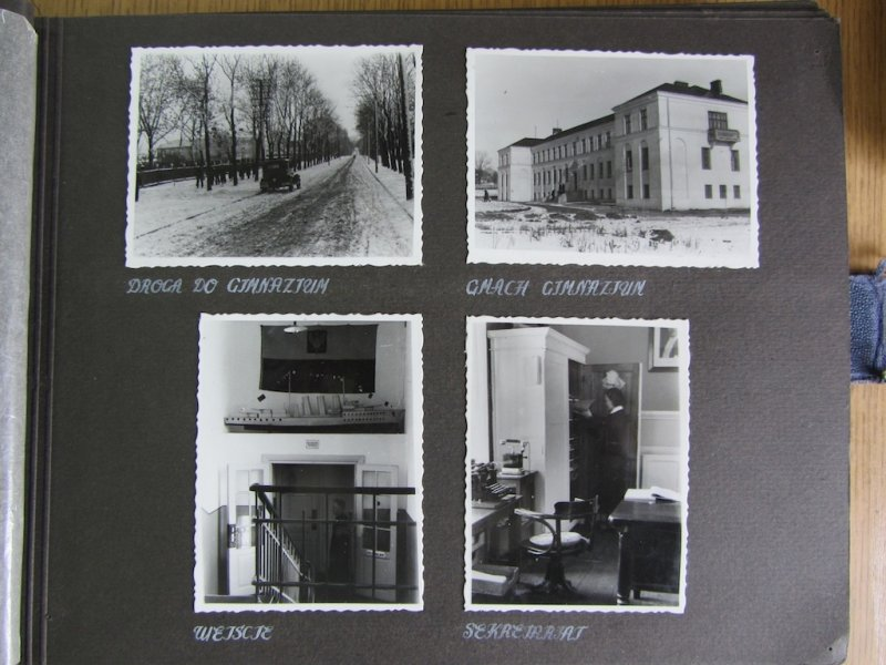 Historic photos of the school building, students, classes, and teachers (1935/36)