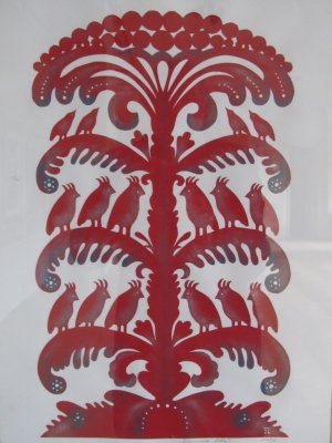 cut-paper folk art on display